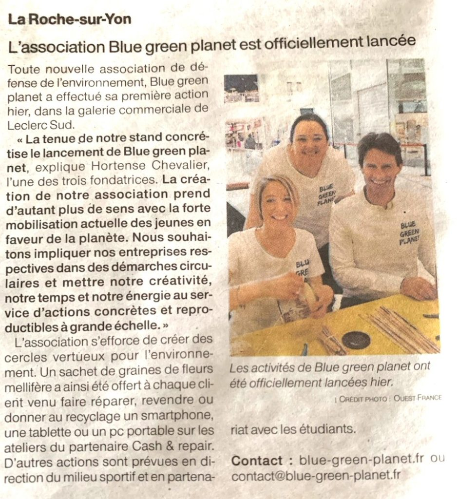 article ouest france blue green planet